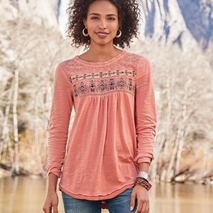 Sundance Anthropologie embroidered long sleeve top